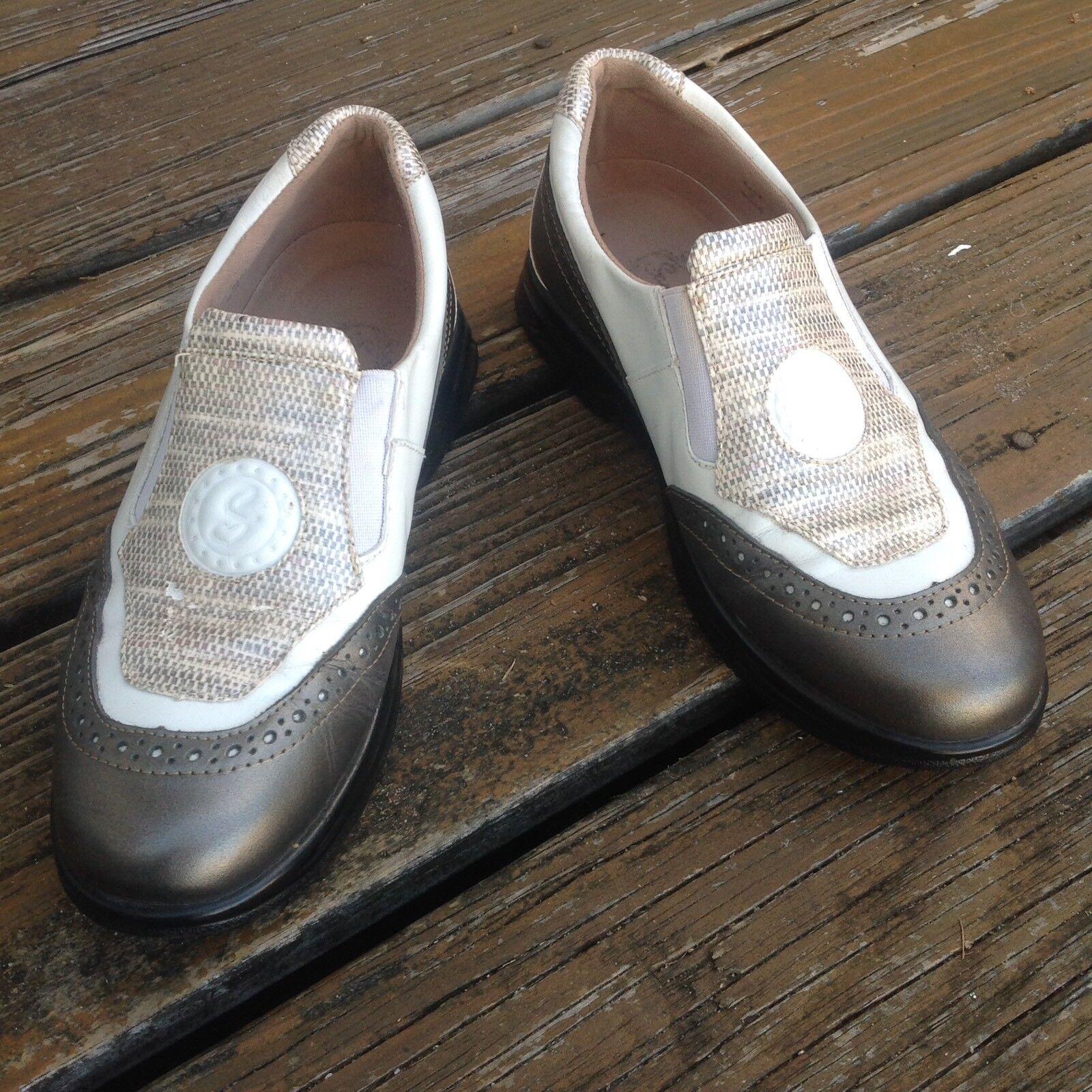 Sandbaggers White Platinum Slip On WingTip Leather Golf Shoes Womens 7.5 Madison