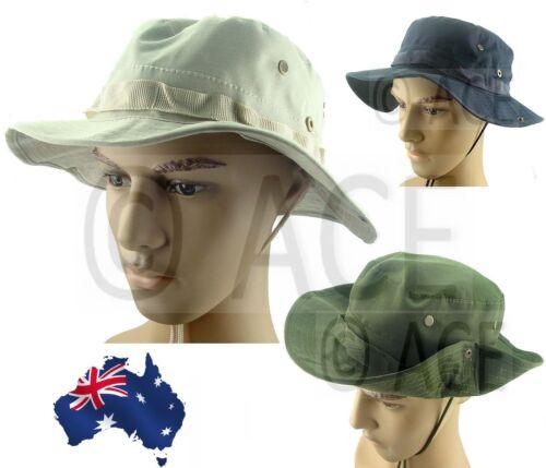 Mens Womens Aussie Outback Safari Plain Wide Brim Bush Walking Beach Sun Hat