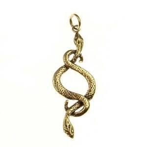 Two Snakes Pendant Bronze Symbol Jewelry - New