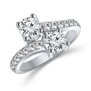 2 Carat Forever Us Two Stone Engagement Diamond Solitaire Ring In 14k White Gold êTre Hautement Loué Et AppréCié Par Le Public Consommateur