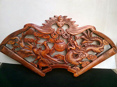 ART HANDWORK CAMPHOR WOOD CARVED DRAGON AND PHOENIX PLATE WALL SCULPTURE NR S2