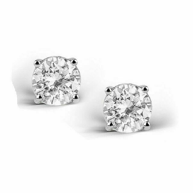 2 Carat White Topaz 925 Sterling Silver Stud Earrings 6mm Real Silver