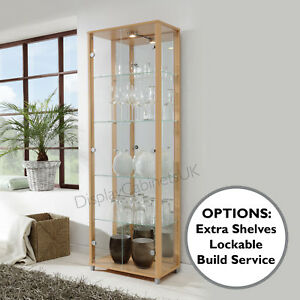Image Is Loading HOME Double Beech Glass Display Cabinet Glass Shelves