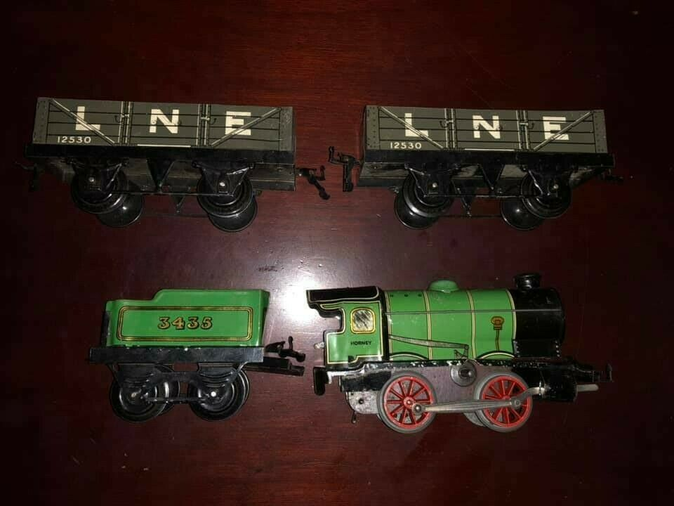 Jahr Hornby 3438 Grün Train + 2 12530 Gondola Tin Plate voitureriers