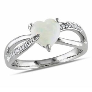 Sterling Silver Opal and Diamond Heart Ring H-I I2-I3