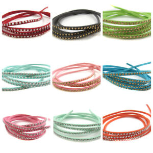 1-YD-FAUX-SUEDE-CORD-STUDDED-RHINESTONES-CAPOCHONS-3-X-2-mm-LEATHER-11-COLOURS