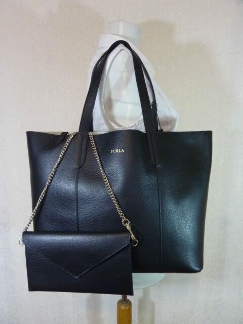 Nwt Furla Onyx Black Pebbled Leather Large Elle Tote Bag 298