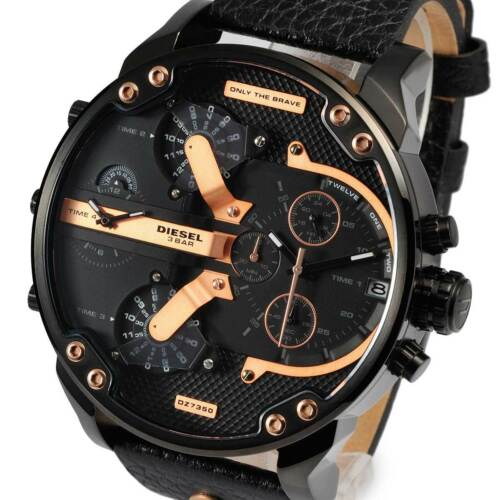1 of 1 - New DIESEL Mens Watch Mr Daddy 2.0 Black Leather Rosegold Chronograph DZ7350
