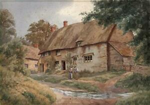WILLIAM-FREDERICK-CASWELL-Victorian-Watercolour-Painting-COTTAGES-AT-SHENTON