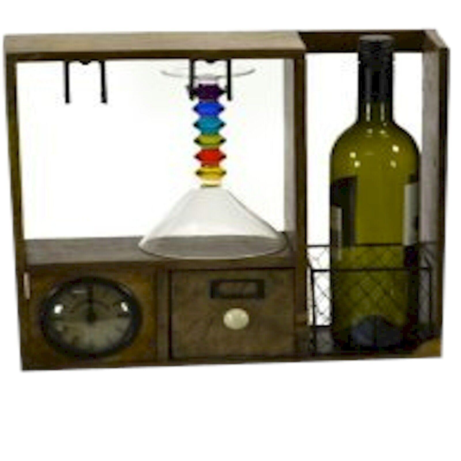 Comté de cuisine rustique en bois de conservation Vin Boutique avec une horloge STC781223