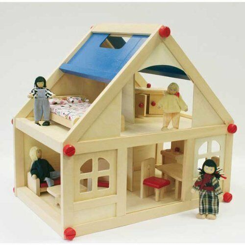 13 PC Wooden Dolls House With Furniture Doll Family Children Toy Kids Play  Set | EBay