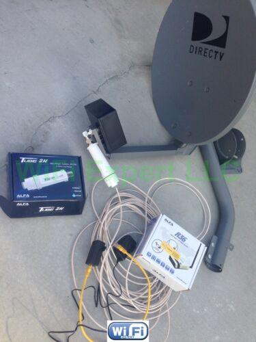 NO Dish BiQuad WiFi Antenna ALFA R36 PoE TUBE 2H Booster GET FREE INTERNET