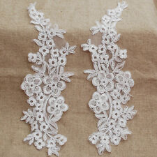 2 Organza Lace Applique Motif - Ghost White - Corded Flower - Bridal - 29cm MP11