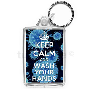 Virus-Keep-Calm-Wash-Your-Hands-Carry-On-Keyring-Gift-Key-Fob-Medium-Size