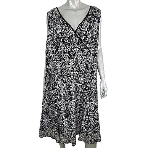 Lane Bryant Womens Linen Dress Plus Sz 26W 28W Side Zip Empire Waist Sleeveless