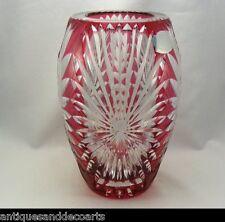 Val St Lambert Grote Rood Geslepen Kristallen Vaas – Grand Vase en Cristal Rouge