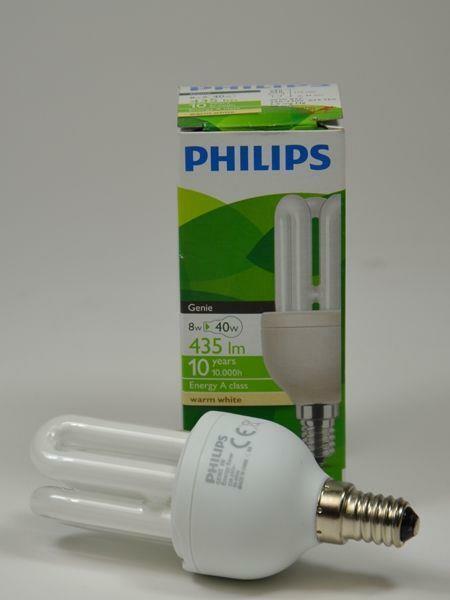 EEK a Lámpara Ahorro de Energía 8w = 40w E14 3u Philips Iluminación