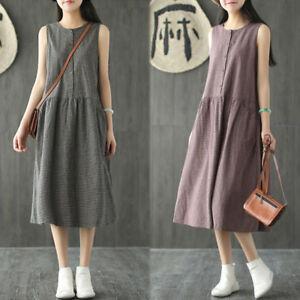 ZANZEA-Vintage-Women-Sleeveless-Casual-Long-Shirt-Dress-Ethnic-Cotton-Midi-Dress