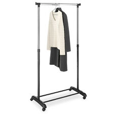 Portable Single Pole Rolling Clothes Hanger with Shoe Rack Organizer Closet Room