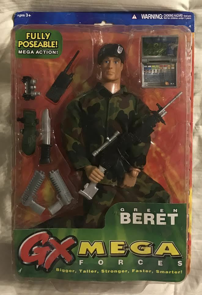 GX MEGA FORCES 14 INCH FULLY POSEABLE ACTION FIGURE - GREEN BERET W  ACCESSORIES