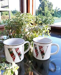 Set Of 2 Pottery Barn Plaid Letter Quot W Quot Coffee Mug Cup