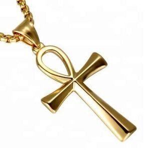 Edelstahl-Venezianerkette-mit-Kreuz-Cross-Anch-Anhaenger-silber-gold-schwarz