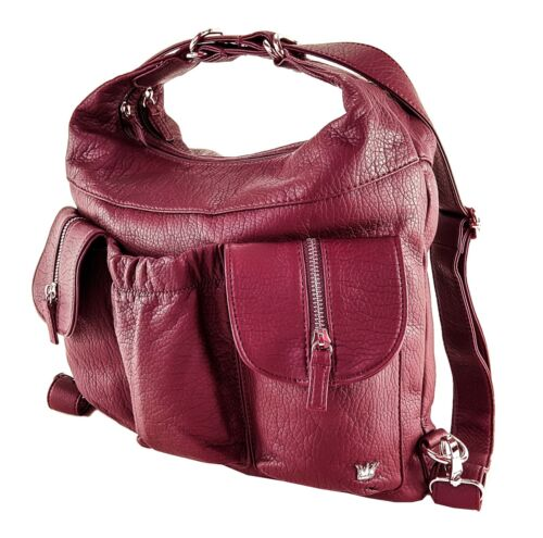 Purse King Butterfly Convertible Purse Vegan Leather Backpack and Shoulder Bag