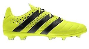 promo code 2c39f 2a6a9 Details about Mens Adidas Ace 16.2 FG S31916 Leather Lime Black Lace Up  Football Boots