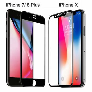 For iPhone X 7 8 Plus Xs Max XR Full Coverage Tempered Glass Screen Protector