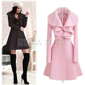 NWT PINK RUFFLE TRENCH WOOL COAT WOMENS PEACOAT VICTORIAN LOLITA