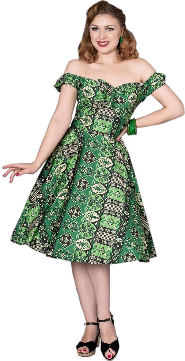 Sheen unja VINTAGE Tiki Tropical Manica Corta Sweetheart Swing Dress Dress Dress Abito Rockabilly f95f83