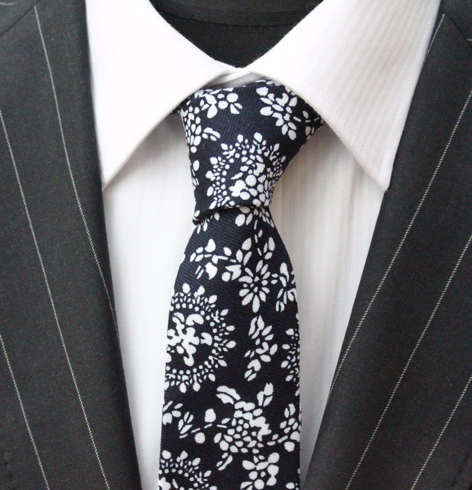 Tie Neck tie Slim Black With White Floral Quality Cotton T6136