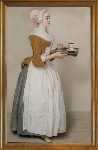 Classic Framed Jean Etienne Liotard The Chocolate Girl Giclee Canvas Print