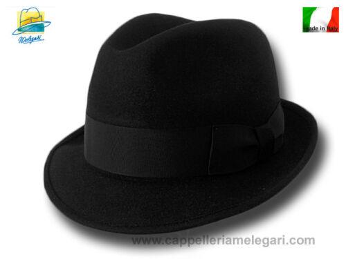 Cappello classico Melegari feltro Trilby Blues Brothers hat 2 nero