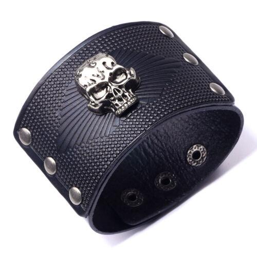 Vintage homme en cuir Bracelet Crâne Large Main Snap Cuff Bangle Cadeau Noir Rouge