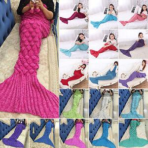 Mermaid Tail Handmade Crocheted Cocoon Sofa Sleeping Rug Knitted Lapghan Blanket