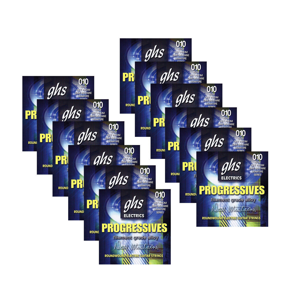 12-Pack GHS PRDM Progressive Dave Mustaine Thin Thick Guitar Strings 10-52