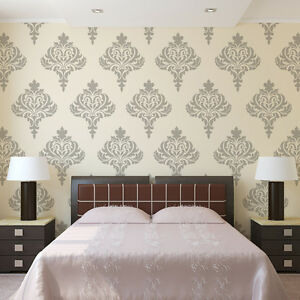 Wall Damask Stencil Balifico For Diy Wall Decor And