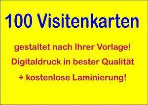 Details Zu 100 Visitenkarten Laminiert Daher Fast Unverwüstlich 300g Karton