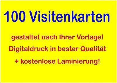 100 Visitenkarten Laminiert Daher Fast Unverwüstlich 300g Karton Ebay