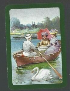 Swap-Playing-Cards-1-WIDE-VINT-ENG-EXQUISITE-LADIES-IN-ROW-BOAT-SWAN-EW160