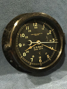 ** Fully Restored** WWII 1944 US NAVY 12/24hr. Chelsea Ships Clock