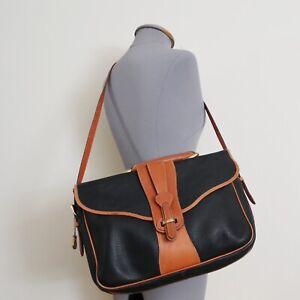 Vintage-Genuine-Dooney-Bourke-Allweather-Leather-AWL-Laptop-Bag-Black-and-Tan