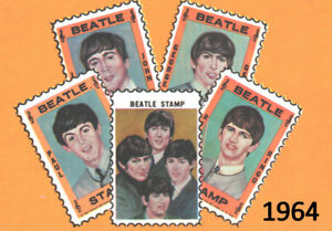 The-Beatles-Old-Vintage-1964-Hallmark-Stamps-SET-Ringo-Lennon-Harrison-Paul-L-38