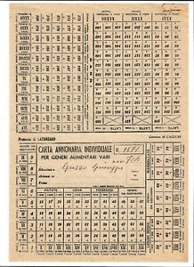 Regno-Storia-Postale-1944-Carta-Annonaria-Individuale-per-Generi-Alimentari