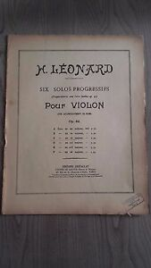 H.Leonard Six Solos Per Violino OP.62 Spartiti Costallat Parigi 5 Persiane Be