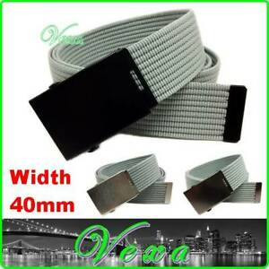 Mens Webbing Trouser Belt 110cm 44 Youth Womens Strap Tape Canvas Buckle Made UK