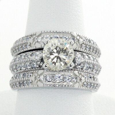 Vintage 6.5mm CZ Sterling Silver Engagement Ring 18K White Gold Plate 3 Ring Set