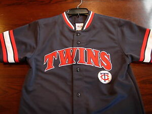 Mlb Minnesota Twins Joe Mauer 7 Blue True Fan Stitched Baseball Jersey Size L Ebay