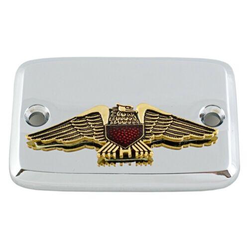 For Honda Goldwing 1200 84-87 Chrome Master Cylinder Cover w Gold Eagle Emblem